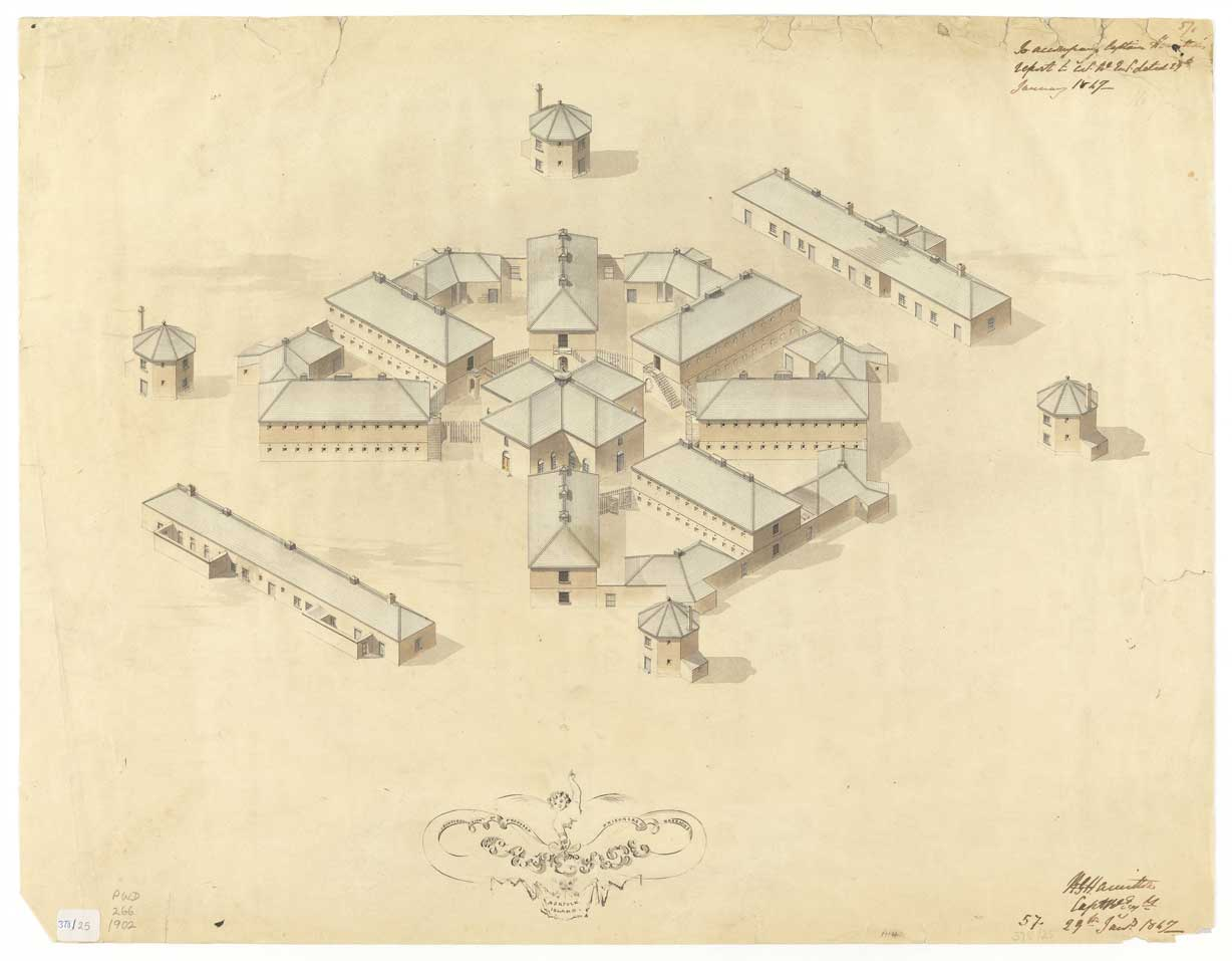 Proposed prisoner's barracks, Cascade, Norfolk Island, 24 Jan 1847. Courtesy: TAHO, PWD266/1/1902.