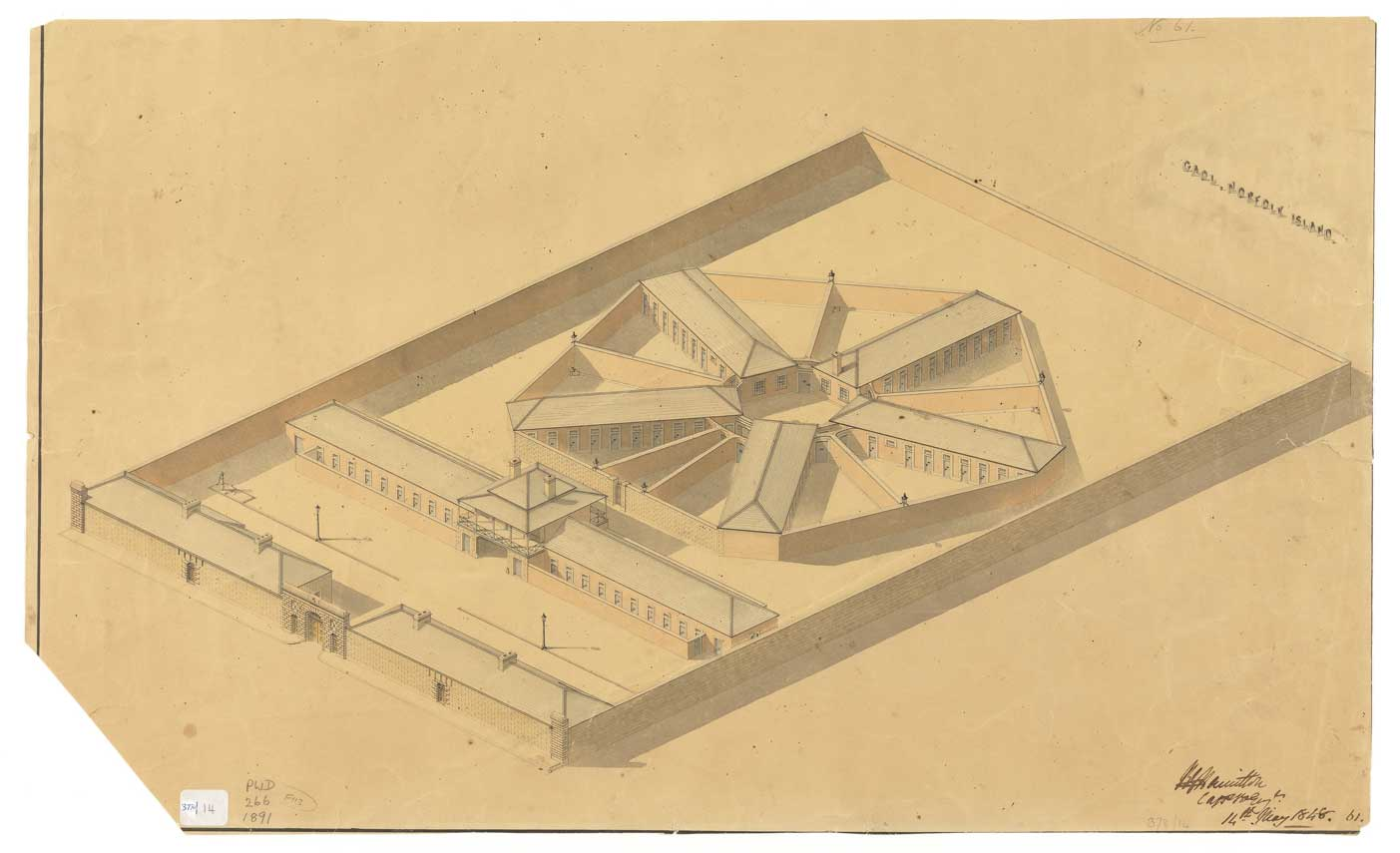 Proposed new Norfolk Island gaol, 14 May 1848. Courtesy: TAHO, PWD266/1/1891.