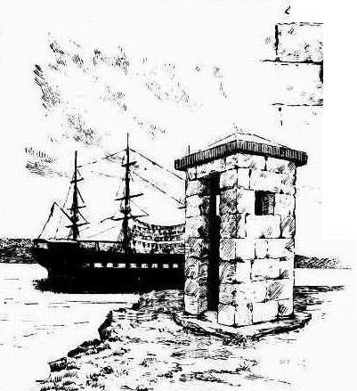 View from Cockatoo Island with old stone sentry box and Vernon in the background. Image:Illustrated Sydney News, Thu 14 Nov 1889, p. 16. Reproduction: Peter de Waal