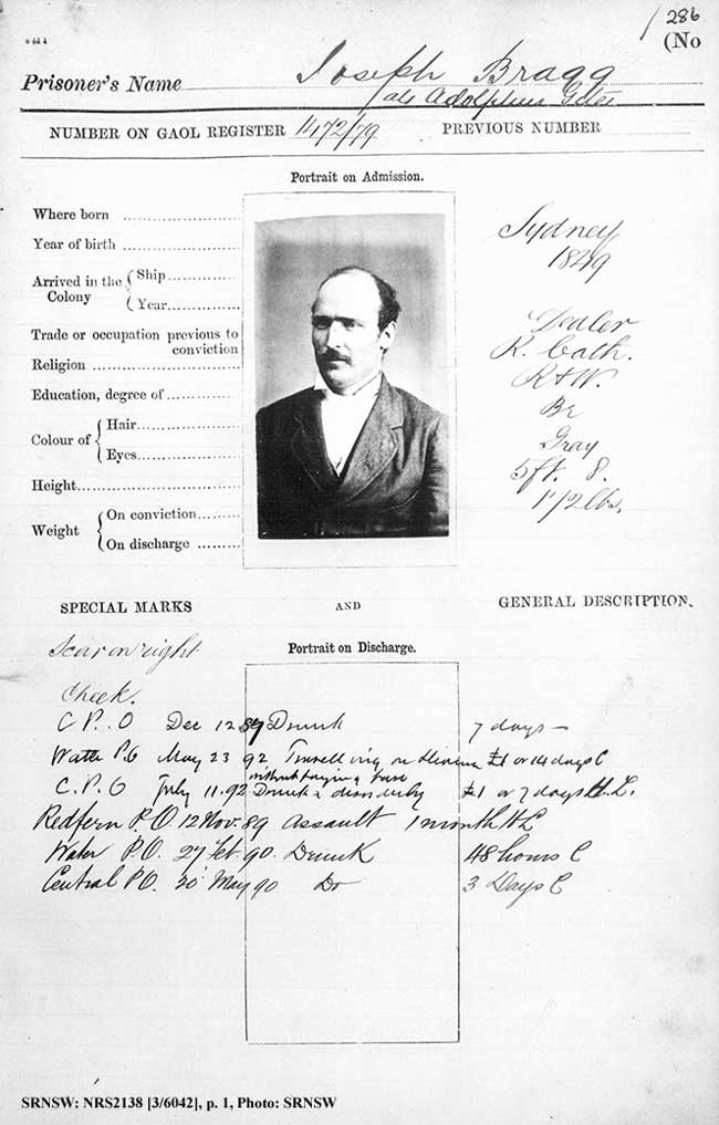 Joseph Bragg's 1879 gaol photo record sheet. SRN- SW: NRS2138, [3/6042]. Photo SRNSW