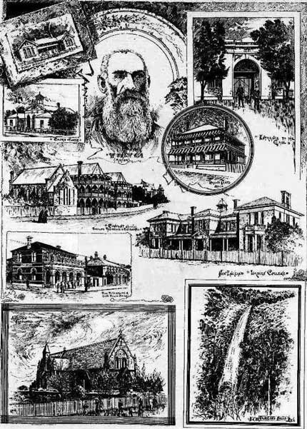 Sketches in and around Armidale, including the courthouse – on left, 2nd from top. Illustrated Sydney News, Sat 4 Jun 1892, p. 5. Reproduction: Peter de Waal