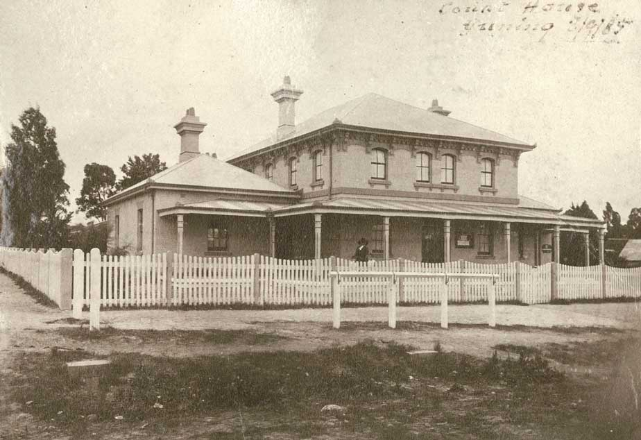 Gunning courthouse, opened 4 Sep 1879, photo 3 Sep 1885. Photo ID: SRNSW 4346_a020_a020000332.jpg