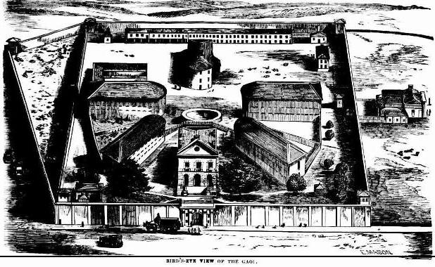 Bird's eye view of Darlinghurst gaol. Source: Illustrated Sydney News, Fri 16 Nov 1866, p. 76. Reproduction: Peter de Waal.