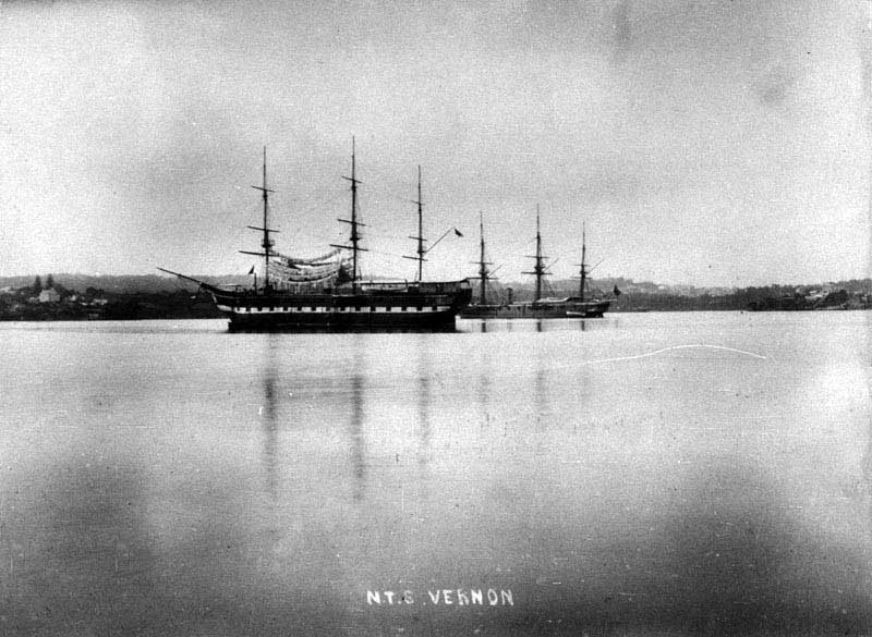 "Naval Training Ship ""Vernon"" with cadets' washing hanging between masts - Sydney, NSW, c. 1888. Image: NSW State Library collection. Reproduction: Peter de Waal"