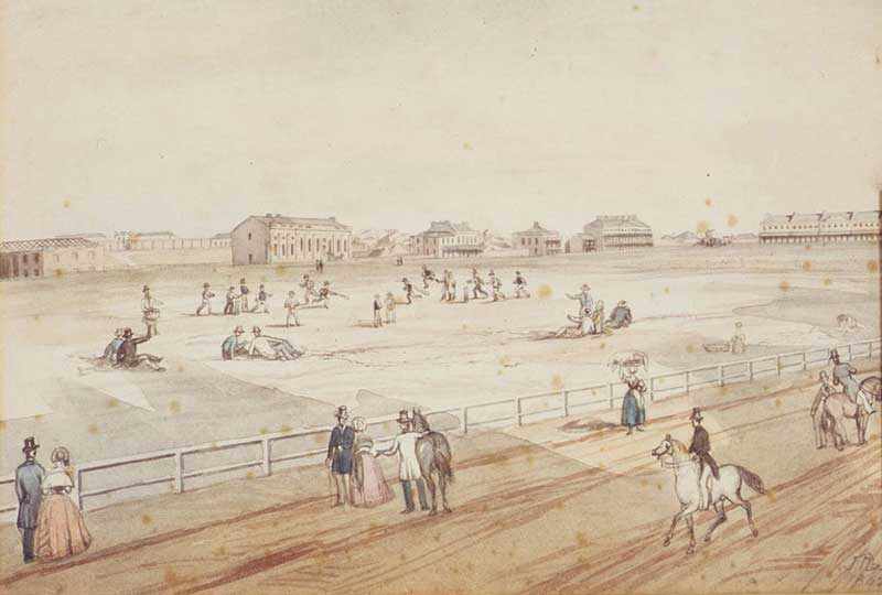 Hyde Park, Museum, Darlinghurst Gaol, Sydney Grammar School, Burdekin's and Lyons' Terraces, John Rae, painting, 1842. Image: Dixson Galleries, State Library of NSW. Reproduction: Peter de Waal