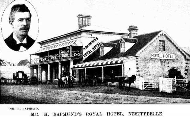 Mr H Rapmund's Nimmitabel Royal Hotel, Main Street. Image: The Sydney Mail and NSW Advertiser, Sat 2 Oct 1897, p.713. Reproduction: Peter de Waal