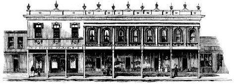 City Coffee Palace, second building from left. Image: Australian Town and Country Journal, Sat 17 Jul 1880, p. 121. Reproduction: Peter de Waal