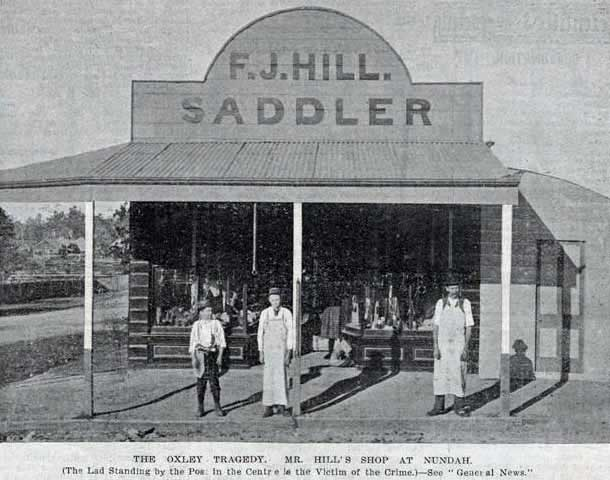 The boy, Alfred Stephen Hill, centre, in front of his father's saddlery at Nundah. Image: <em>The Queenslander</em>, Sat 14 Jan 1899, p. 75. Reproduction: SLQ