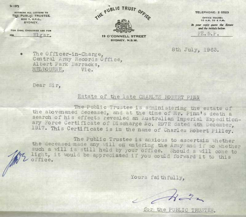 The Public Trust Office, Sydney letter 8 Jul 1963