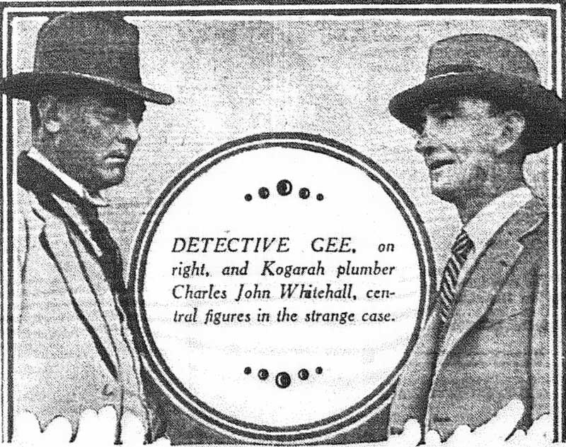 Charles john Whitehall, left, and Detective Donald Gee, right. Source: Truth, (Syd, NSW), Sun 16 Jul 1933, p.22. Reproduction: Peter de Waal