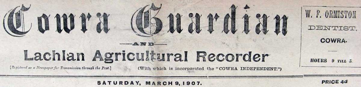 Cowra Guardian and Lachlan Agricultural Recorder, masthead. Reproduction: Peter de Waal