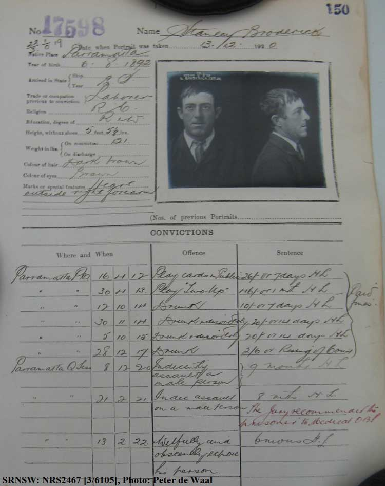 Emphasis added. SRNSW: NRS2467, [3/6105], State Penitentiary photographic description book, 9 Oct 1920-14 May 1921, No. 17598, p. 150.