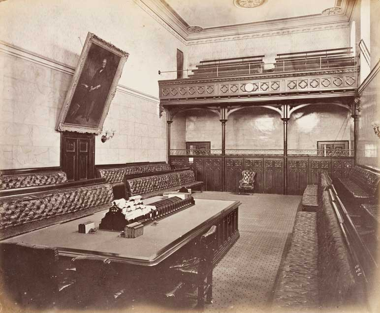 NSW Legislative Assembly Chamber, interior, 1872. Image: NSW State Library collection. Reproduction: Peter de Waal